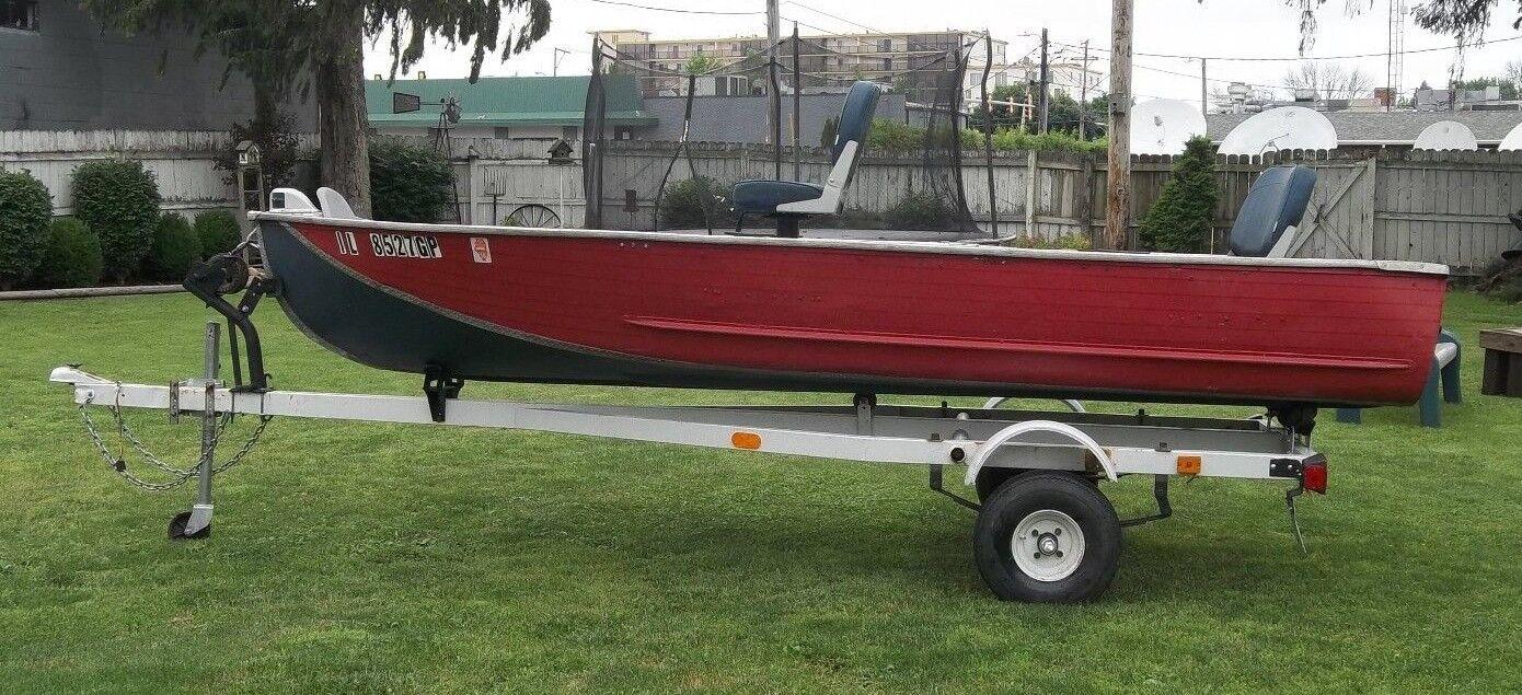 13.5 ft V HULL Bottom Aluminum Fishing Boat 14'+trailer Clear title/registration