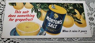 "MORTON'S SALT Vtg ADVERTISING INK BLOTTER - 4-1/8"" x 9"" Excellent Grapefruit!"
