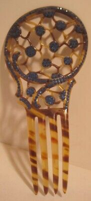 Victorian Wigs, Hair Pieces  | Victorian Hair Jewelry Beautiful Large Victorian Hair Comb Faux Tortoiseshell & Blue Rhinestone $48.00 AT vintagedancer.com