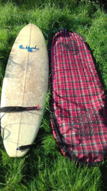 Surfboard (MCQ) - 7'4'' Pro Liberty, #167, Martin McQueenie, Tartan Print Carrying Bag, Leash