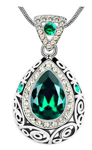 18K White Gold Plated Green Crystal Necklace