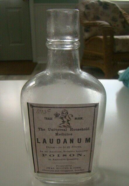 Vintage- The Universal Household Medicine Laudanum-Poison Reproduction Bottle