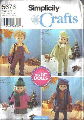 """SIMPLICITY 5676 18"""" Doll Clothes & Accessories Pattern"""