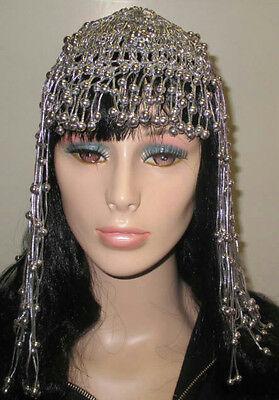 Silver Cleopatra Beaded Headpiece Costume Accessory - Cleopatra Head Piece