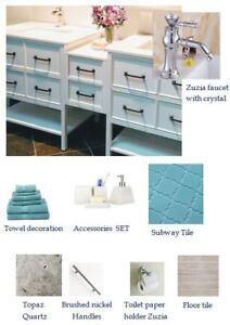 BATHROOM & KITCHEN:VANITY, CABINET,MIRROR,TUB,TILE,FAUCET,SINK..
