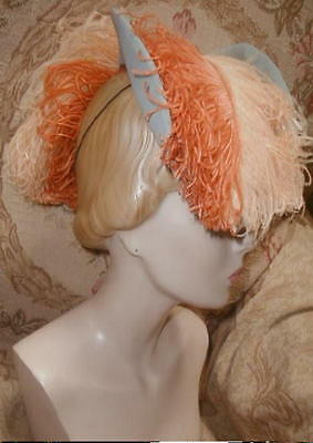 1930s EMPRESS EUGENIE Riding Style HAT w Ostrich Plumes G H Hodge,Greta Garbo