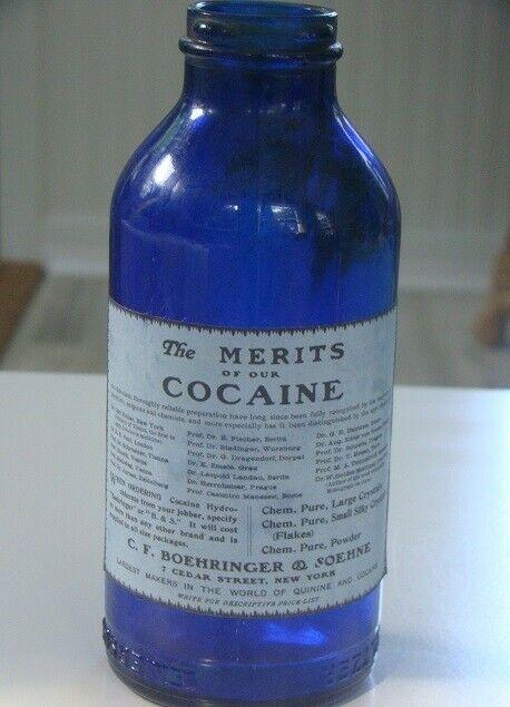 Vintage C.F. BOEHRINGER & SOEHNE -EMERSON DRUG CO. Cocaine Reproduction Bottle