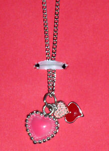 Pink Heart Charms Necklace on silver chain
