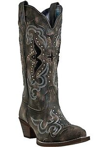 Womens-Laredo-Sanded-Black-w-Underlay-Studs-Snip-Toe-Western-Boots-52133