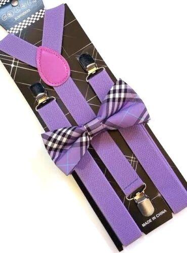 New Lavender Purple Tartan Plaid Bowtie Suspender Set Tuxedo Formal Men