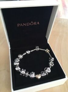 RARE RETIRED PANDORA BRACELET & CHARMS - GOLD TWO TONE AND SILVER Bondi Beach Eastern Suburbs Preview