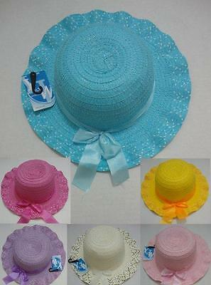 Toddler Girls Straw Summer Hat w/ Bow Childrens Child's Hat Great For EASTER - ](Girls Easter Hats)
