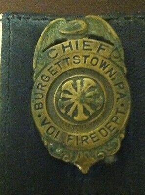 Vintage Fire Chief Badge for Burgettstown, Pennsylvania Volunteer Fire Dept.