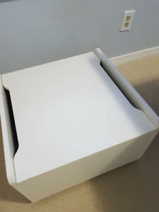 STORAGE BENCH, SIDE TABLE or TOY BIN - on wheels - White