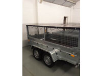 TWIN AXLE TRAILER/ CAGE/ MESH TRAILERS 8,6FT X 4,4FT - 750KG UNBRAKED + FLAT COVER