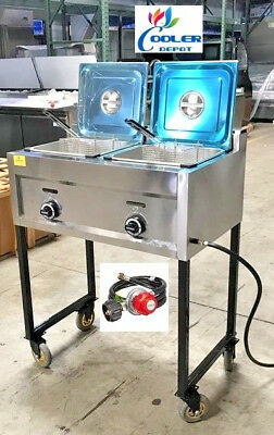 New Double Deep Fryer Portable Cart Propanegas Use Stainless Steel Model Fy20