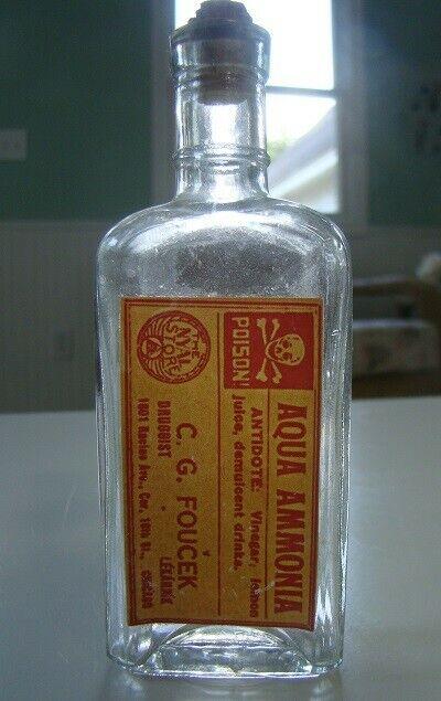 Vintage C.G. Foucek Druggist -Aqua Ammonia - Poison Reproduction Bottle- Chicago