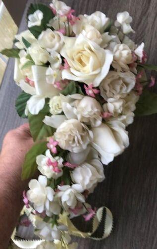 Vintage Brides wedding bouquet; cascading roses