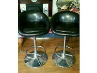 Comfy pair bar stool chrome and leather