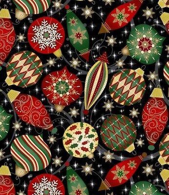 Elegant Christmas Ornaments-Black B/G with Metallic By Blank Quilting-BTY](Elegant Christmas Ornaments)