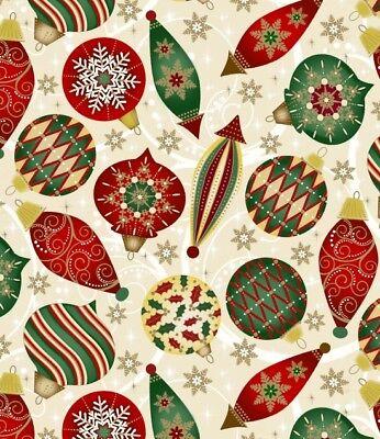 Elegant Christmas Ornaments-Ivory B/G with Metallic By Blank Quilting-BTY](Elegant Christmas Ornaments)