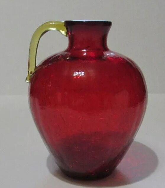 "Pilgrim Ruby Red Amberina Crackle 6 1/2"" Art Glass Blown Jug Vase"