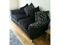 3 Seater Sofa Couch Settee Suite Black and Grey