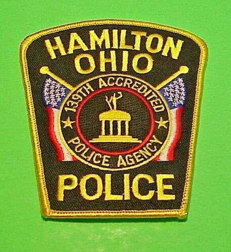 """HAMILTON  OHIO 139TH ACCREDITED POLICE AGENCY 4""""  POLICE PATCH  FREE SHIPPING!!!"""