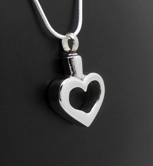 "316 S/Steel ""Silver Heart"" Memorial Keepsake Cremation Urn Ash Pendant Jewellery"