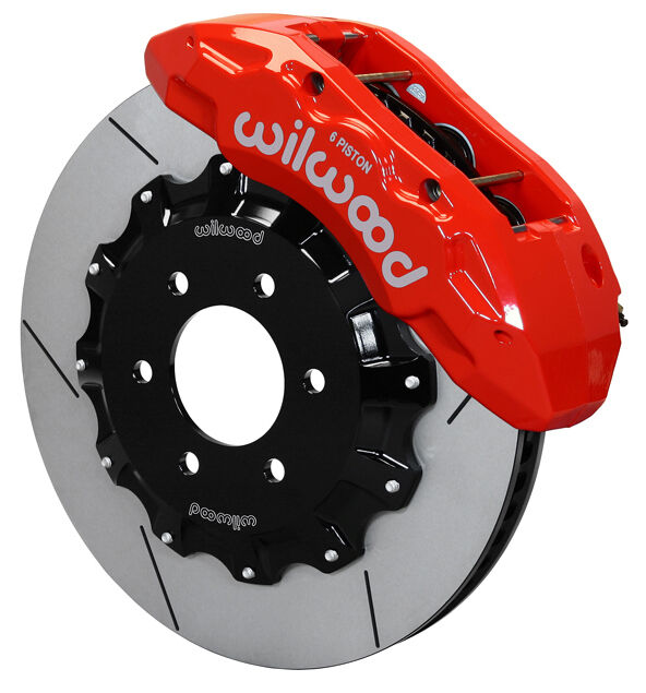 """WILWOOD DISC BRAKE KIT,FRONT,04-08 FORD F-150,15.5"""" ROTORS,RED 6 PISTON CALIPERS"""