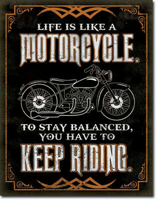 Motorcycle Keep Riding Tin Metal Ad Sign Retro Garage Shop Bar Cave Picture Gift