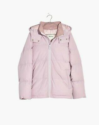 NWT Madewell Women Lilac Quilted Puffer Parka Long Sleeves Coat Jacket (XXS)