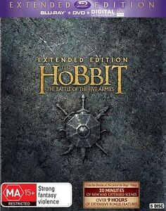 The Hobbit: The Battle of the Five Armies (Ext Edition/UV) NEW B Region Blu Ray