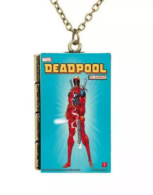 New Miniature Cartoon Book Cover Classic Deadpool TINY Book Pendant Necklace