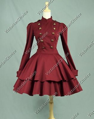 Gothic Victorian Lolita Military Dress Steampunk Theater Cosplay Gown N C022 L