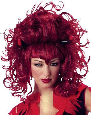 Damen Vampir Devil Rot Gothik Perücke Kostüm Verkleidung Zubehör Halloween Neu ()