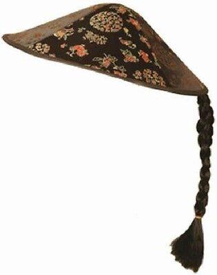 Erwachsene Damen Herren Chinesisch Oriantalblack & Rot Bestickt Kostüm Hut