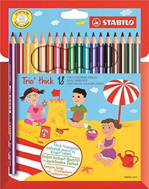 STABILO Trio thick Dreikant-Buntstift 18 Farben Kinder Schulbedarf 18er Pack