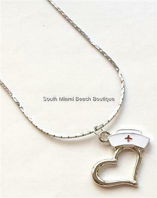 Nursing Graduation Gifts (Silver Nursing Cap Heart Necklace Plated Nurse Graduation Gift RN LPN CNA)