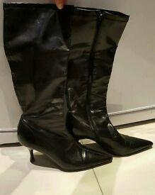 black ladies leather boots