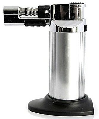 - Multi-Purpose Refillable Butane Torch/Soft Flame Cigar Lighter-Silver