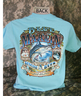 Blue Marlin Beer T Shirt Fishing Funny Drinking Drunk Fish Hunting Tee Boat New