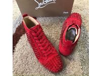 Christian Louboutin Red Suede High Top Studded Men's Designer Red Bottom Sneakers