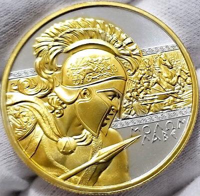 Molon Labe (Come and Take it) , 1 oz .999 pure Silver Coin , 24k Gold Gilded