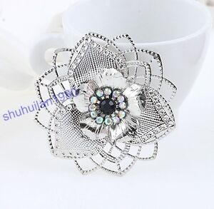 2 Pcs Old Silver Plated Rhinestone Fashion Useful Big Flower Brooch Free Ship