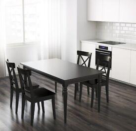 DINING TABLE BLACK EXTENDABLE IKEA INGATORP