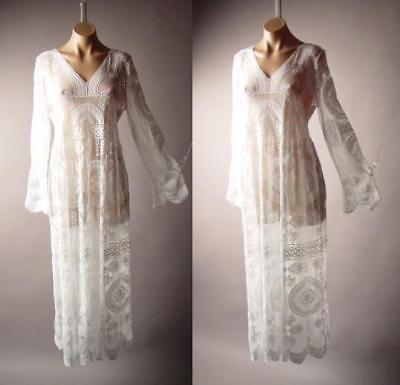 Victorian Lace Gown (White Embroidered Sheer Lace Victorian Boho Wedding Gown Maxi 265 mv Dress S M L )