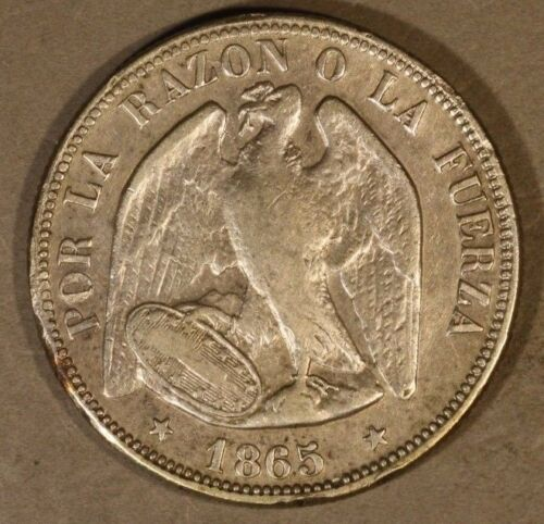 1865 so Chile 50 Centavos Silver Circulated           ** FREE US SHIPPING **