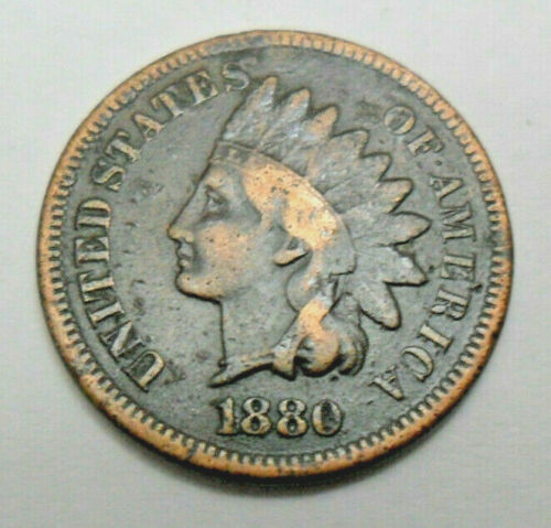 1880 P Indian Head Cent Penny  *F - FINE*  **FREE SHIPPING**