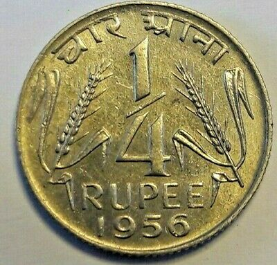 1956 C India 1/4 Rupee | World Coins Inde KM# 5